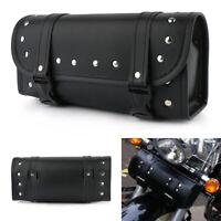 1Pcs Moto PU  Baril Outil Sac Bagages Sacoches Laté Rales En Cuir Pour Harley