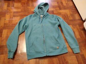 Carhartt For Women Light Blue Full Zip Up Hoodie Jacket Sz Medium