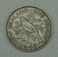 New Zealand One Penny Coin~1943 George VI~KM#13~Bronze 9.6g~XFine~#583