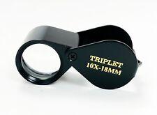 18 MM - 10X Triplet Diamond Cut Black Eye Loupe Jewelry Inspection Magnifier