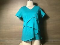 Anthony Richards Women Knit Tiered Top GREEN Size PS (6P-8P) NWOT SHT SLEEVE
