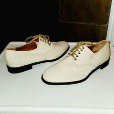 NWOB! SALVATORE FERRAGAMO Brian Ivory Canvas Oxford Tie Dress Shoes Mens Sz 7.5
