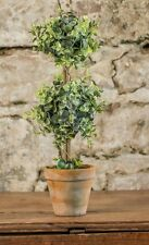 New French Country Chic Artificial Double Topiary Pot Herb Green Leaf 18""