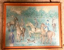 1950'S  HIGH STYLE FRENCH HUNTING SCENE DRAWING  SIGNATURE ILLEGIBLE