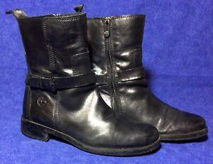Black Leather TIMBERLAND Ankle Boots Sz 8 / 39 Buckle Biker Strap Zipper