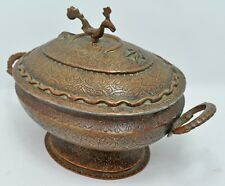 Antique Copper Kashmiri Food Bowl Box Original Old Hand Crafted Engraved