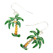 Tropical Palm Tree Fashionable Earrings - Enamel - Fish Hook - Silver Plated