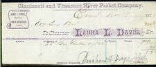 "STEAMBOAT FREIGHT BILL ""LAURA L. DAVIS"", Ohio & Tennessee Rivers, 1878"
