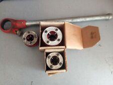 """Ridgid 00-R Pipe Threader Ratchet Head & Handle 1/2"""" 3/4"""" 1"""" Dies ~ Tool Set"""