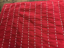 Pottery Barn Table Runner.  Red with White Stitching Lines.  Holiday / Christmas
