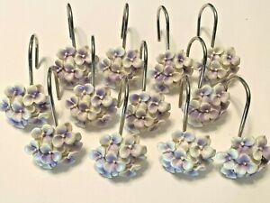 Set of 12 Shower Curtain Hooks White & Lavender Hydrangea Pre-owned