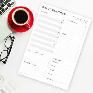 Daily Planner Desk Organiser To do list Schedule Meal Planner A4 Pad or Sheets