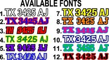 "Custom Set of (2) 2 COLOR Boat Registration Number Lettering Vinyl Decal 3""x 20"""