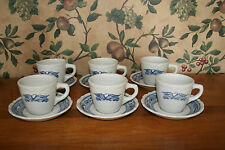 VINTAGE SYRACUSE AMERICANA BLUE LIBERTY EAGLE CUP/SAUCER-SET OF 6
