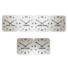 Roco Verre Silver Acrylic Time Zone Clock