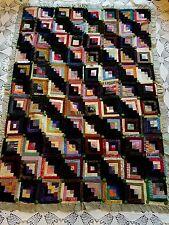 victorian gothic log cabin shadows and light silk velvet quilt 1800's 48 x 66