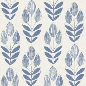 Wallpaper Designer Scandinavian Block Print Tulip Blue Leaves on Beige White