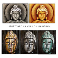 Buddha Oil Painting Stretched Canvas Wooden Frame Meditation Zen Relaxation Wall