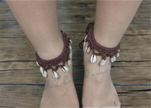 2pcs (1 Pair) Crochet Barefoot Sandals Anklet Boho Wedding Beach Bridal New