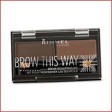Rimmel London Brow Sculpting Kit Dark Brown Eyebrow Wax Eye Shadow Duo-Compact