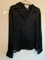 Escada margaretha ley black silk shirt lace 42