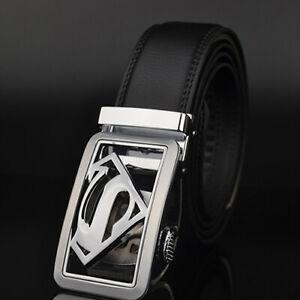 Luxury Men's Superman Automatic Buckle Belt Black Leather Ratchet Strap Jeans