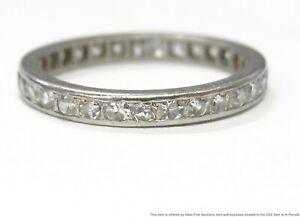 0.50ctw Fine White Clean Diamond Platinum Ring Eternity Wedding Band Size 4.5