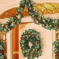 2.7m Christmas Garland Wreath Lights Copper Wire Snow Pine Cones Fruit Rattan