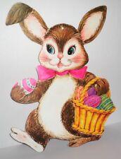 Vintage Easter Die Cut Decoration 12x15 Easter Bunny with Egg Basket 60's