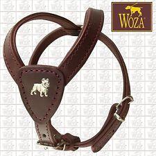 WOZA Premium French Bulldog Harness Full Leather Padded Genuine Cow Napa  HB8816
