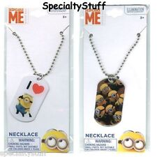 "2 NEW MINIONS DOGTAG NECKLACE 18"" DESPICABLE ME 2 DIFFERENT DESIGNS (OJ)"