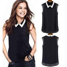 Lady Summer Shirt Women Blouse Loose Casual Shirt Sleeveless Tops V Neck Formal