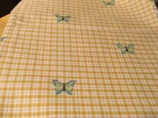 Yellow Plaid Fabric w/ Embroidered Butterflies 18x51