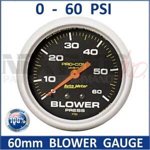 "60mm BLOWER Gauge 0-60 PSI Black Face Auto Meter Pro-Comp Liquid Filled 2-5/8"""