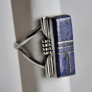 *Vintage A YAZZIE Native American Lapis Inlay Sterling Silver Ring SIZE 6.5