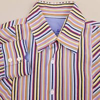 Bugatchi Uomo Men's Button Up Shirt Size Medium Long Sleeve Striped Orange Blue