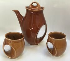 More details for vintage holkham pottery coffee pot and two mugs