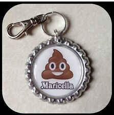 Personalized EMOJI POOP Bottle cap Name Necklace Jewelry, Zipper Pull ID Tag