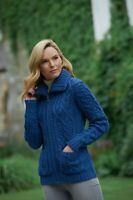 Double Collar Zipper Blue Irish Merino Aran Crafts Cardigan Patch Pockets x4274