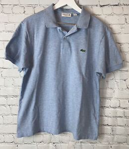 LACOSTE Mens' Light Blue Short Sleeve Polo Shirt Size US Large FR 5