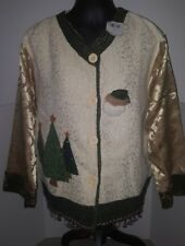 Kirklands Holiday JACKET Cardigan Brocade Trees Embellished ugly OSFM Lg-XL NEW