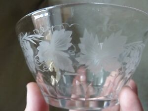 11 Antique Rinser Bowls With Etched Grapevine, Not Signed Walsh Walsh?
