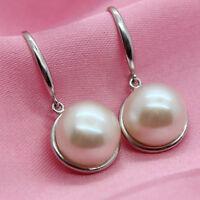 Freshwater Pearl 925 Silver Drop Earrings White Ivory Art Deco Bridal Wedding