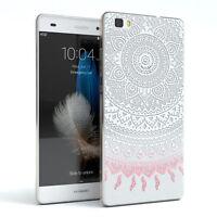 Hülle für Huawei P8 Lite (2015) Schutz Cover Handy Case Motiv Henna Weiß / Rosa