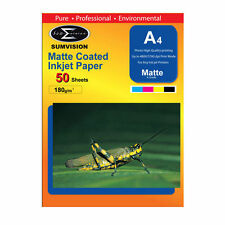 Sumvision 180g Photo Paper A4 Premium Matt Inkjet Printer (50 Sheets)