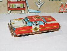 Vintage Japan Tin Litho Friction Red Police Chief Car War Toy Works