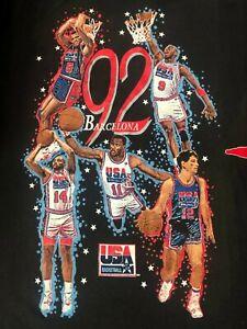 Vintage Olympic '92 Barcelona DREAM TEAM NBA T Shirt XL JORDAN BIRD EWING MAGIC