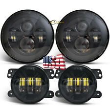 "Osram 7"" LED Headlights+ 4"" LED Fog Light Spot Lamp Combo Kit For Jeep Hummer H2"