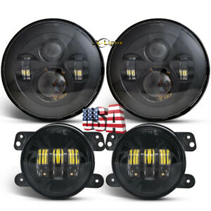 "EMC 7"" Round LED Headlights 4"" LED Fog Light Spot Lamp Kit For Jeep Hummer H2 H1"