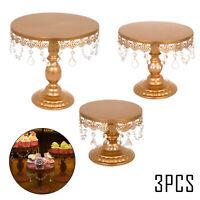3Pcs Set Crystal Metal Cake Holder Cupcake Stand Birthday Wedding Party Display